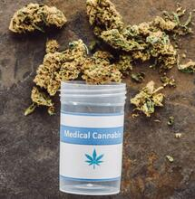 bottle with medical cannabis.