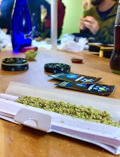 rolling up on a table