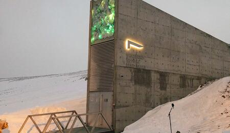 The exterior of Svalbard Global Seed Vault taken in February 2020.