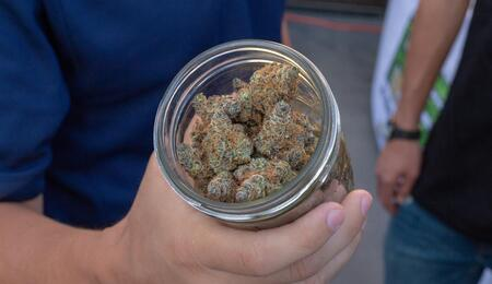a doctor holding a jar with medical weed.