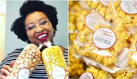 lammar marrie gourmet popcorns photo collage.