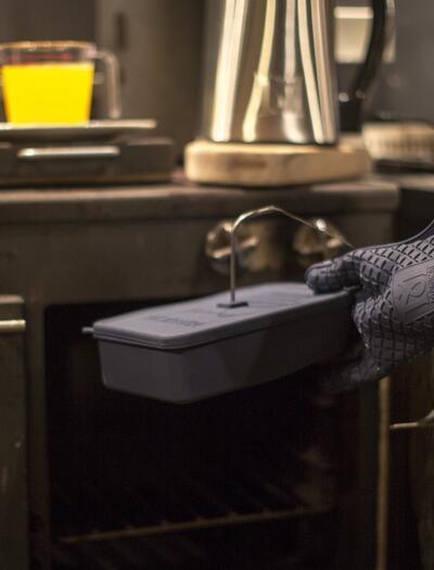 preparnig canna butter in the kitchen.