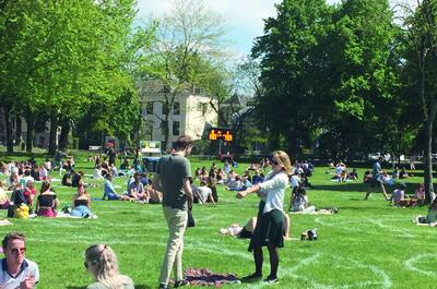 Mensen zitten in cirkels in het park